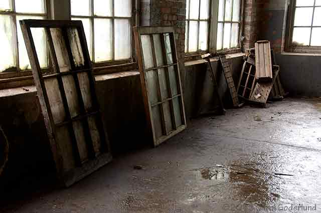 Old windows at the silk mill