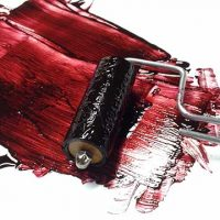 Brayer Loaded with Red Dye